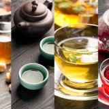 Traditional sorts of tea different cultures (collage)