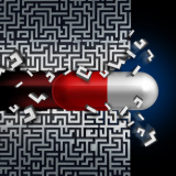 Medical breakthrough concept  and a successful medication discovery symbol as a healthcare medicine solution with a capsule pill breaking through a maze or labyrinth.