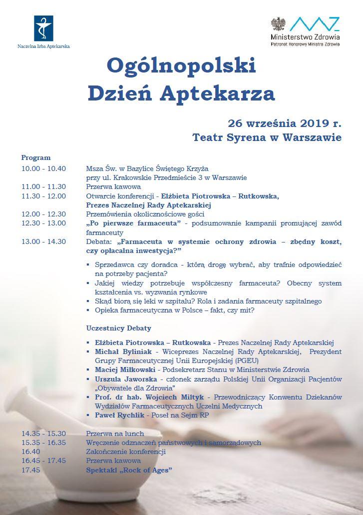 A. Ogólnopolski Dzień Aptekarza. Warszawa, 26 września 2019 r.
